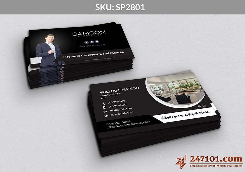 Horizontal Business Cards with Agent Profile Photo and Social Media Handles