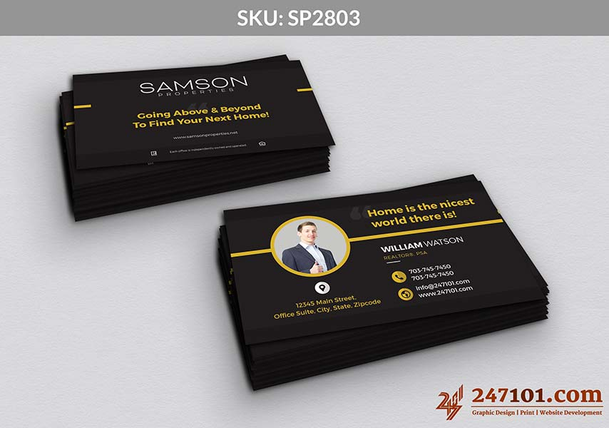 Horizontal Business Cards - Yellow Outlinings and Texts with Quote of Samson Properties
