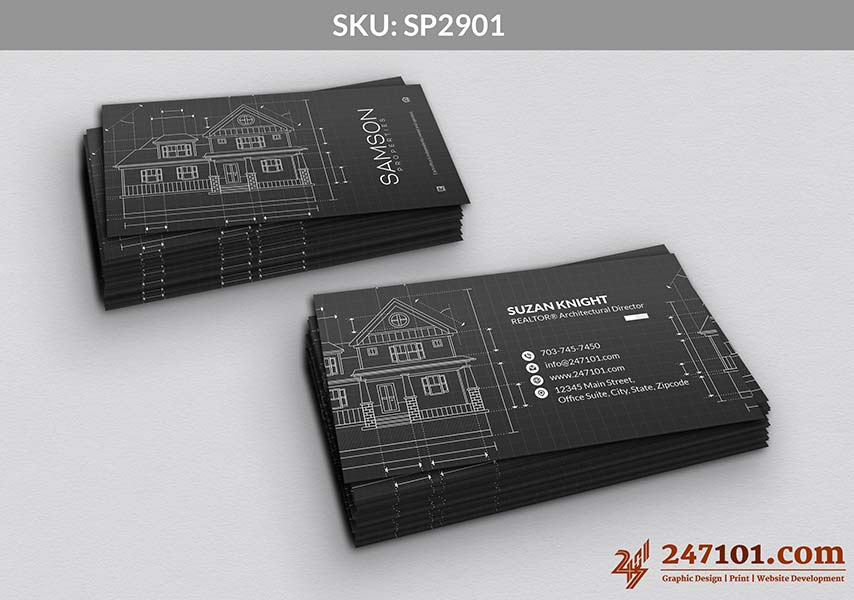 Architecture Style Business Cards for Samson Properties