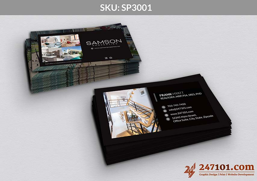 Horizontal Business Cards with Black Color Scheme and Photos on Back Side