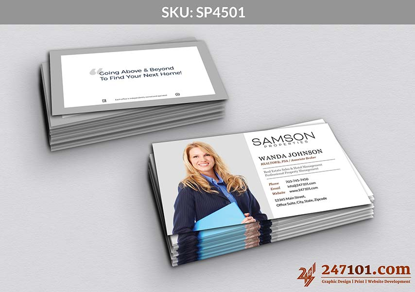 Horizontal Business with Agent Profile Picture with Quote on the back Side Samson Properties