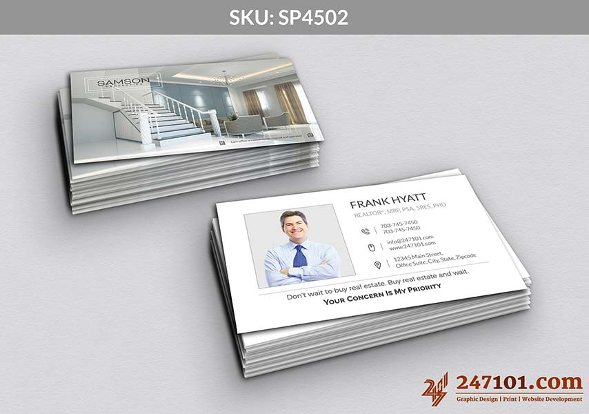 Horizontal Business Cards with White Designs and Black Texts with Profile Photo