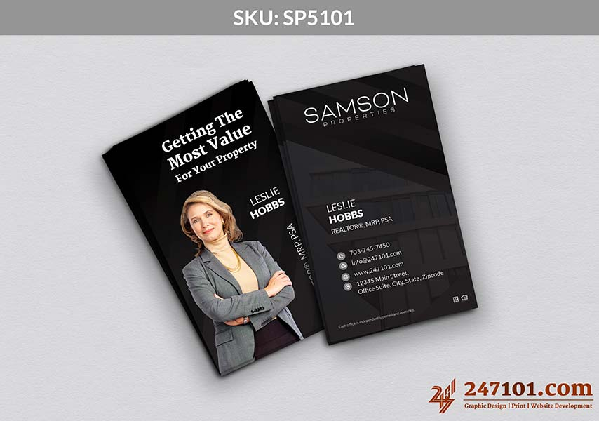 Vertical Business Cards with Agent Profile Photo on the Back - Black and White Color Scheme