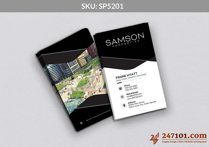 Samson Properties Vertical business Cards with Black and White Background with Image on the Backside