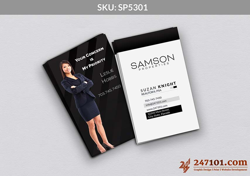 Vertical Business Cards for Samson Properties with Agent Photo
