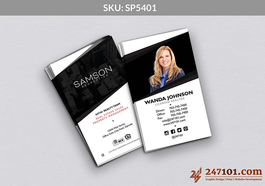 White and Black Samson Properties Business Cards with Agent Profile Photo