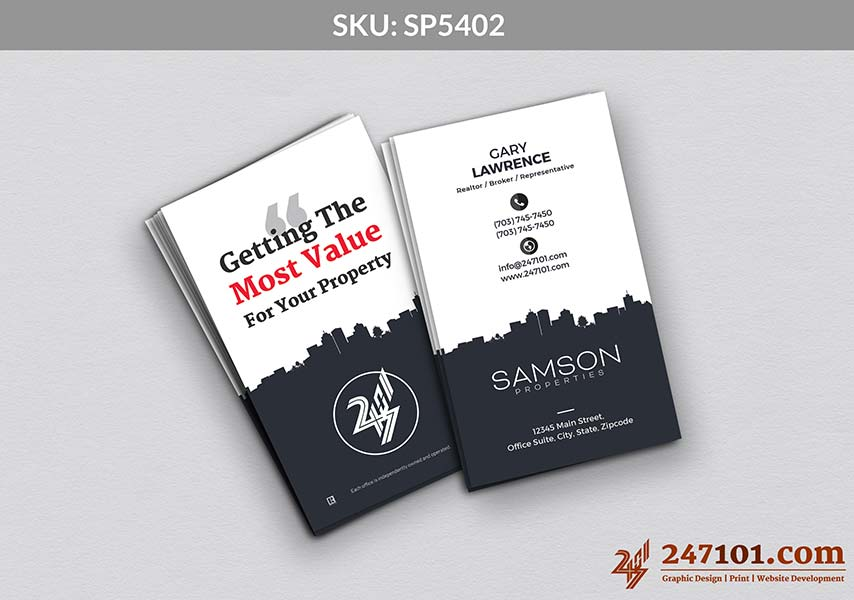 Vertical Business Cards with Blue Commercial Borders Samson Properties Cards