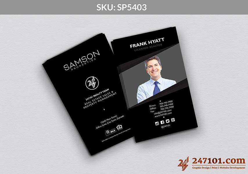 Vertical Business Cards - Black and White Color Scheme of Cards