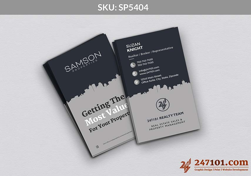 Blue and Gray Business Cards for Samson Properties with Commercial Building Layout