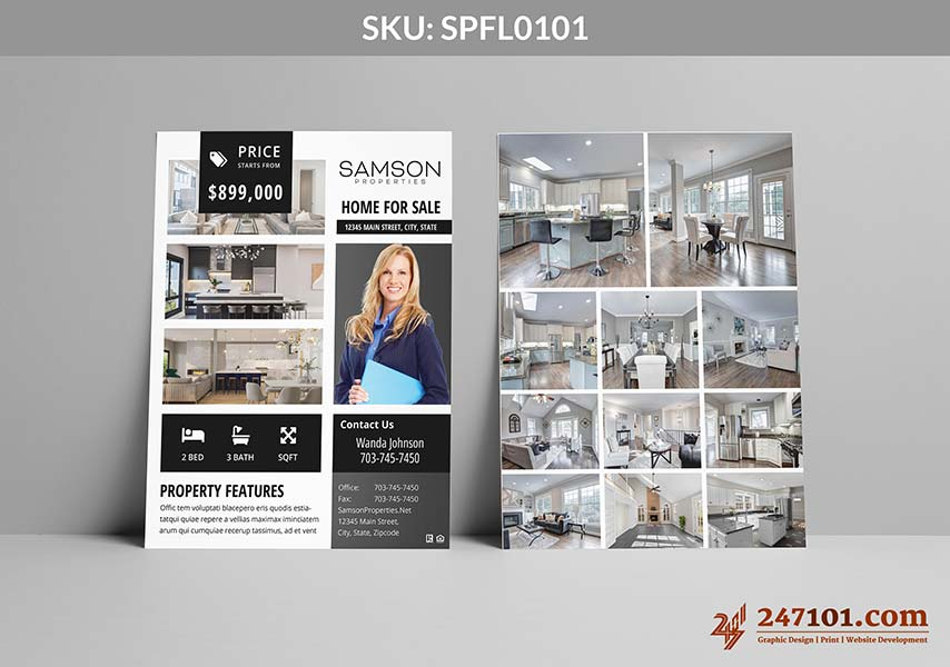 Flyers for Samson Properties with Images on Back Side