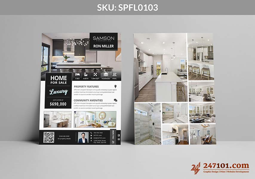 Black and White Flyers for Samson Property Agents with Luxury Listings