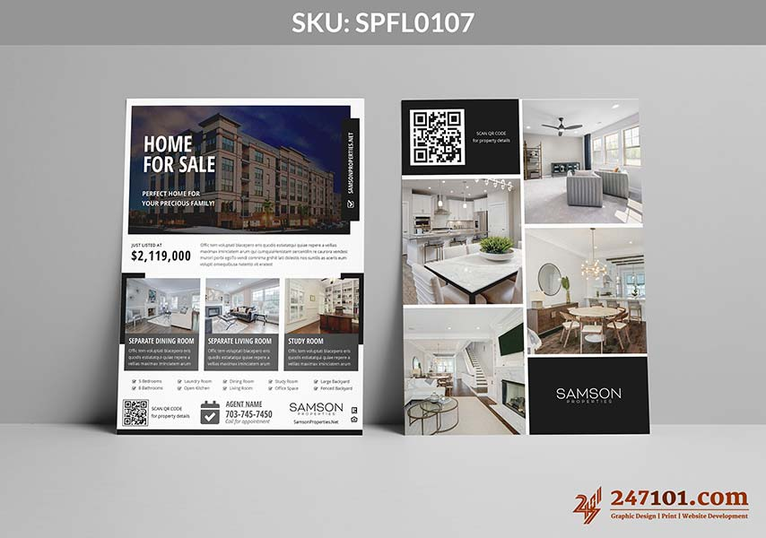 Home For Sale Modern Design Flyers for Samson Properties Agents Black and White Designs