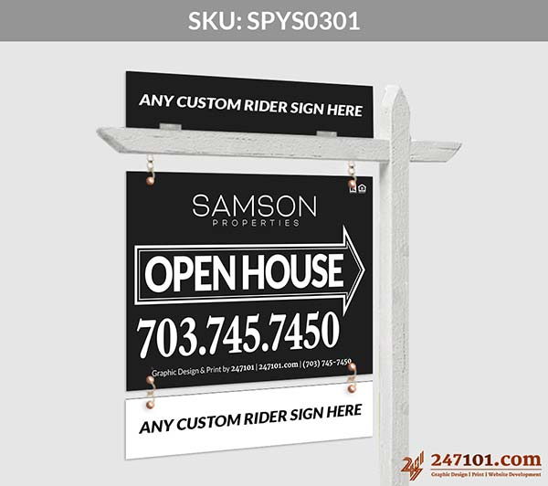Samson Properties - Open House Yard Sign Black and White Color