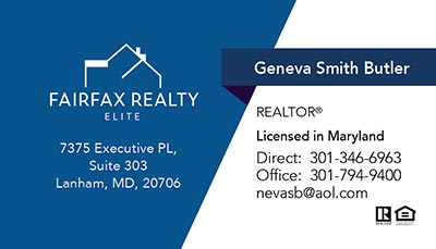 Business Cards for Fairfax Realty Elite Agent - Geneva Smith Butler