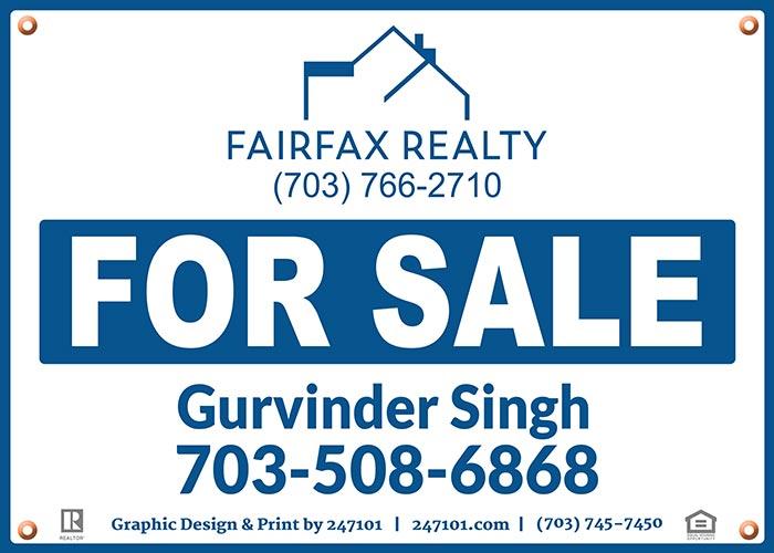 Realtors Yard Hanging Signs for Fairfax Realty