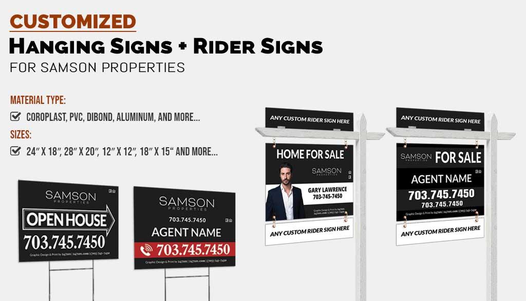 Realtors Yard Signs and Hanging Signs for Samson Properties