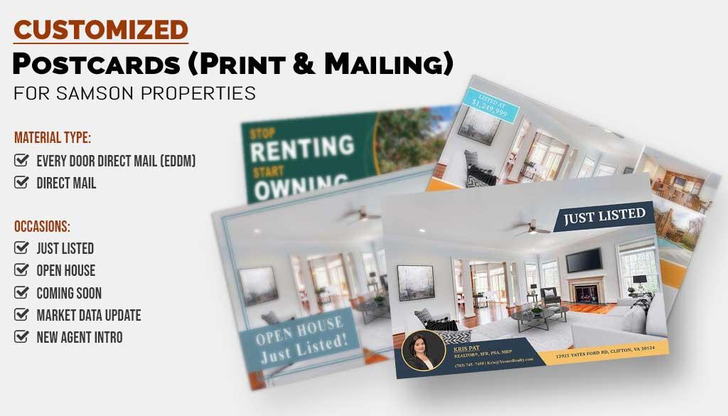 Realtors Print Postcards and Postcard Mailers for Samson Properties