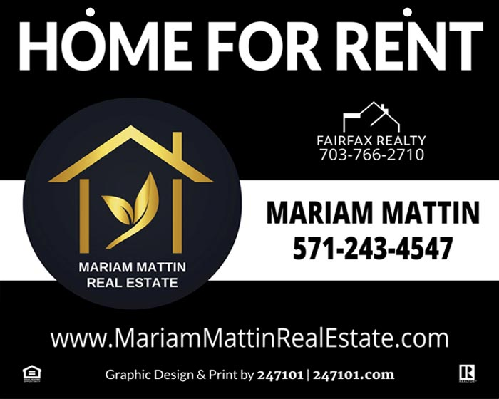 Hanging Yard Sign for Fairfax Realty Agent