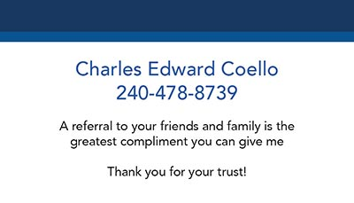 Charles Coello - Business Cards for Fairfax Realty Premier Agent